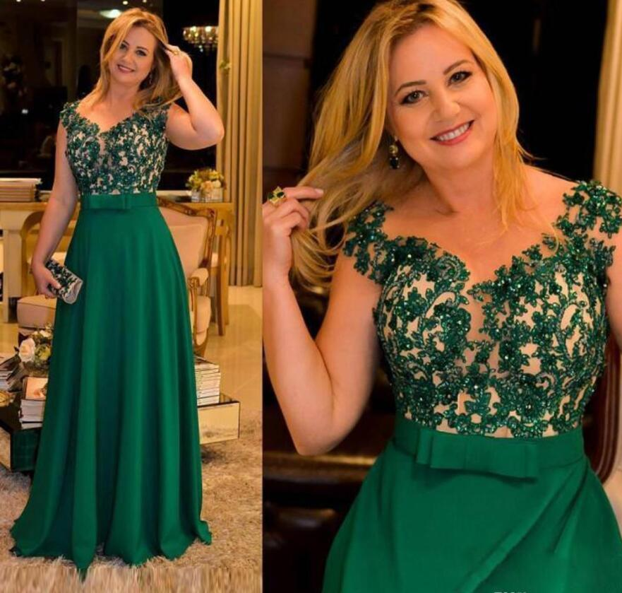 Grün A Line Sheer Ausschnitt Mutter der Braut Kleider Short Sleeve Applikationen Sequin Abendgarderobe Fußboden-Länge mit Bogen-Schärpe Abendkleider