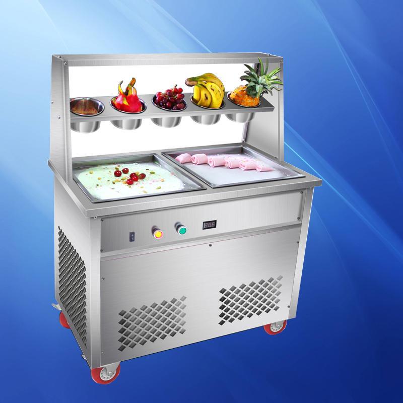 thai dupla comercial frito Ice Cream Rolls Pan Plano Rolo Ice Cream Máquina de três botões interruptor de 1800W