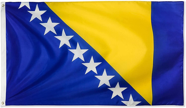 Bosnie drapeau 150x90cm 3X5FT haute qualité Drapeaux personnalisés 100D Polyester extérieur Usage Intérieur, pour le Festival suspendu Publicité