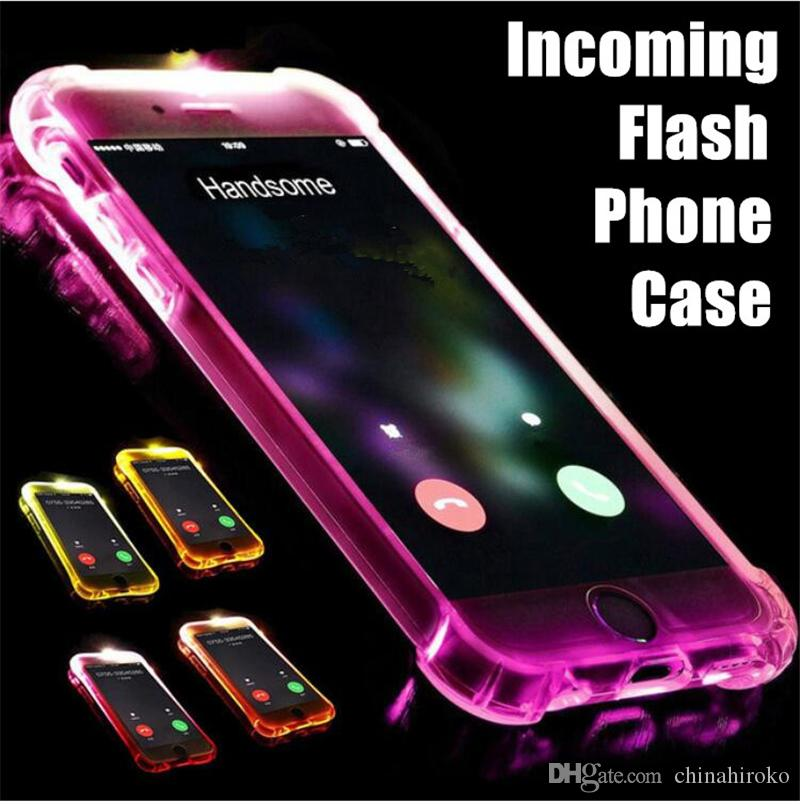 LED Incoming Light Up Phone Case Remind Call Flash Cover Ultra Thin TPU Glitter Flash Transparent Case For iPhone 6 6S 7 8 Plus X