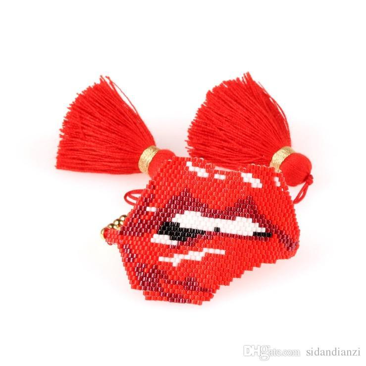 2019 New Trendy Lips Rope Chain Bracelet Women Pink Red MIYUKI Glass Beads Handmade Tassel Female Bracelets Friendship Jewelry Pulsera