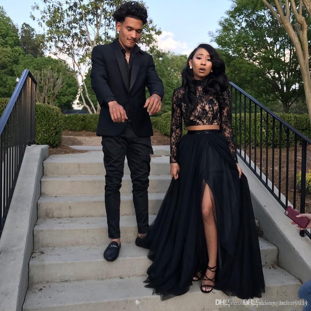 Nuevos vestidos de fiesta de manga larga negros 2019 Vestidos de desfile de fiesta de noche formal Vestido africano de dos piezas Cuello alto Tallas grandes Por encargo
