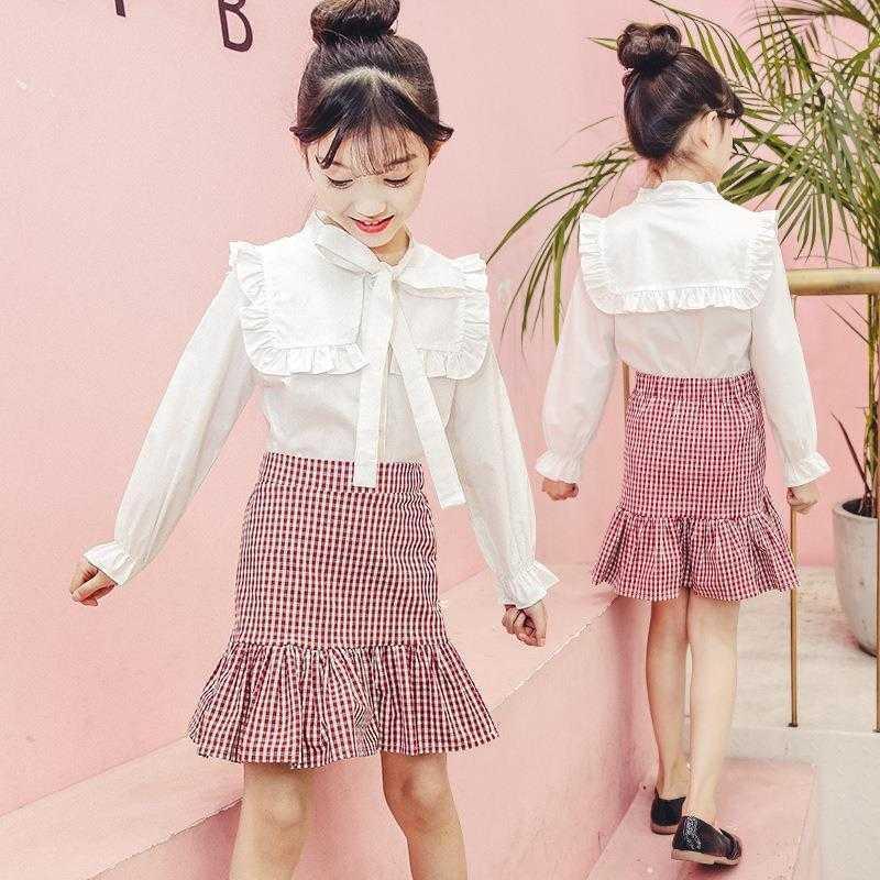 Bianco shirt manica lunga + pannello esterno delle ragazze della molla del vestito di modo dei bambini primavera e di autunno dei vestiti alla moda per bambini Net Tide 8