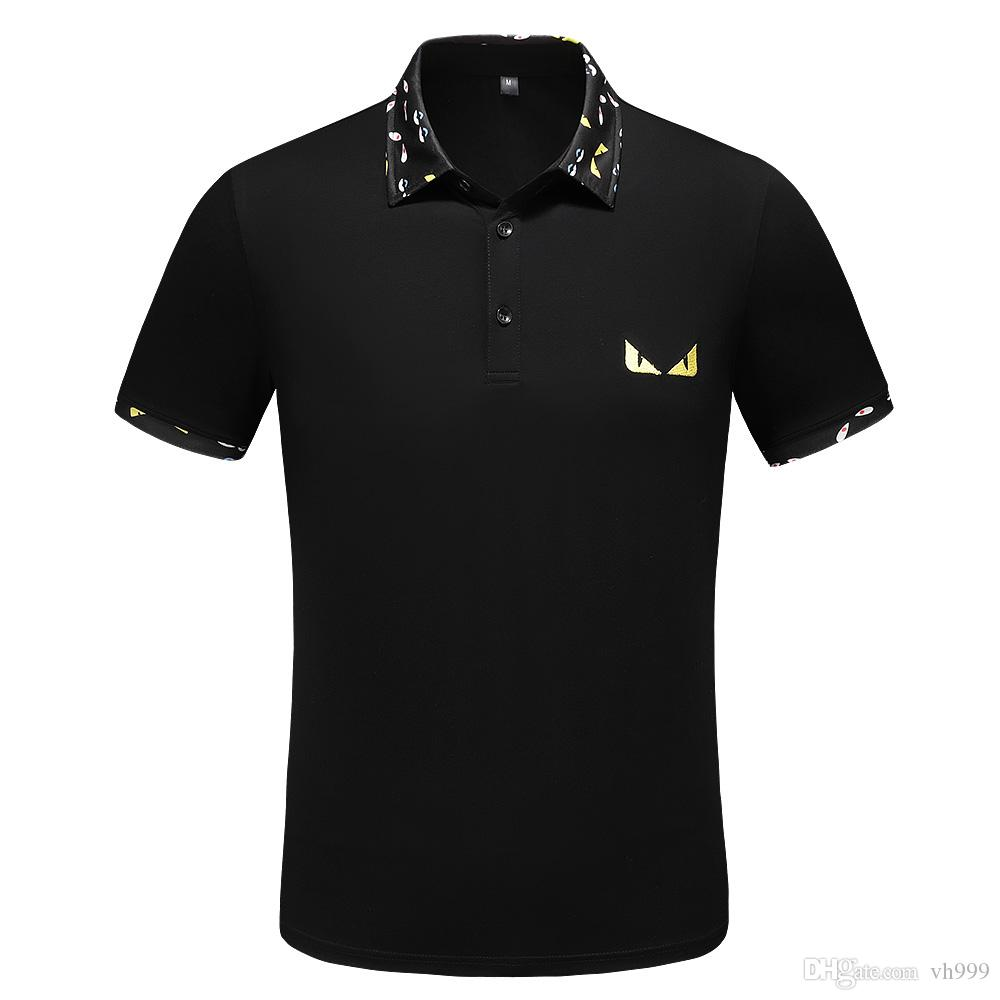 19ss Itália camisa designe polo de luxo da marca medusa camisetas mens polo de algodão Casual com bordados apliques de cobra