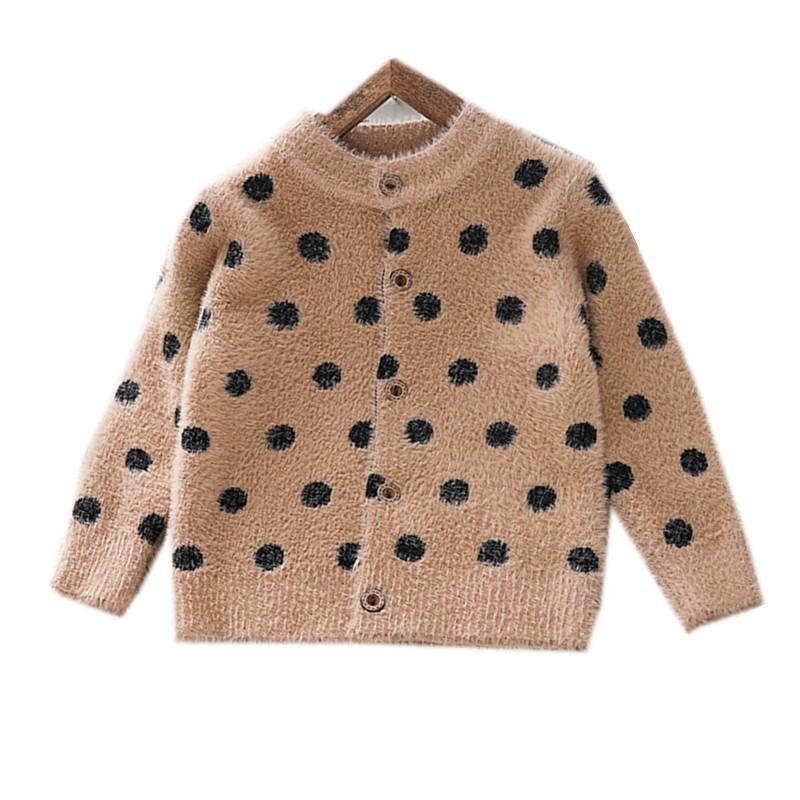 2 a 6 años de bebé muchachas de los cabritos del lunar de impresión de gran tamaño de la manga de punto suéteres de otoño invierno chica chaqueta de punto los niños outwear