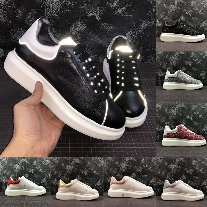 2020 Мода Люкс Классический Повседневная обувь Платформа Кожа Тренер Для женщин людей 3M Reflective Черный Белый Кроссовки Velvet Мужской Chaussures