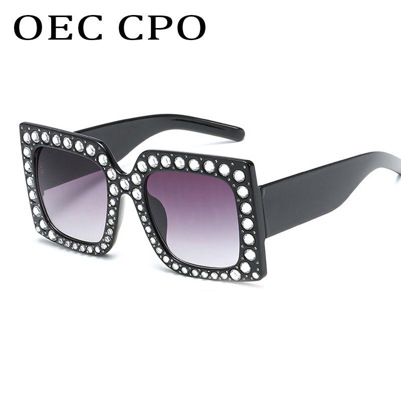 OEC Gläser Shades Spiegel Marke UV400 Kristall Quadrat Weibliche Frauen Sonnenbrille Diamanten Retro Gläser Sun L52 Sun CPO Design NEU MJXLO