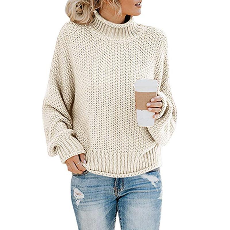 Fashion- Women Fashion Sweater Winter Loose Turtle Neck Knitted Sweaters Long Sleeve Solid Color Top Women Autumn Female Sweater