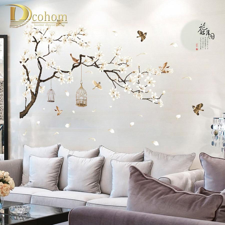 Chinesischen Stil Weiße Magnolie Wandaufkleber Vogel Blume Wandtattoos  Wohnzimmer TV Hintergrund Dekorative Vollmond Kunstwand D19010902