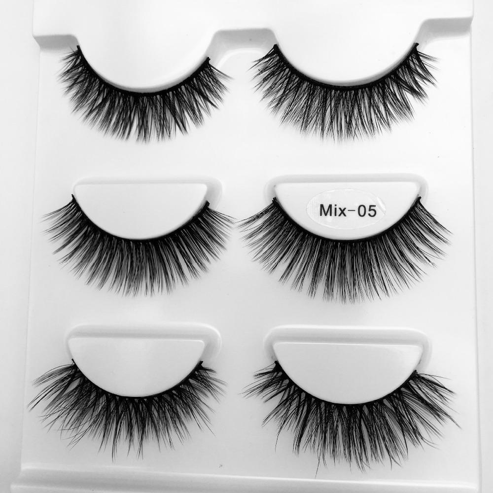 NOUVEAU mélange 3 paires de cils de vison maquillage naturel long faux cils cils de vison 3d extension de cils 1cm-1.5cm faux cils