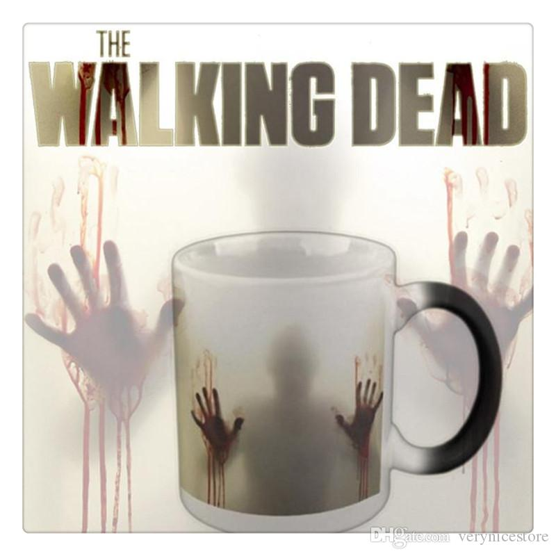 The Walking Dead Zombies Ceramics Heat Sensitive Color Changing Coffee Tea Mug Cold Black Hot White