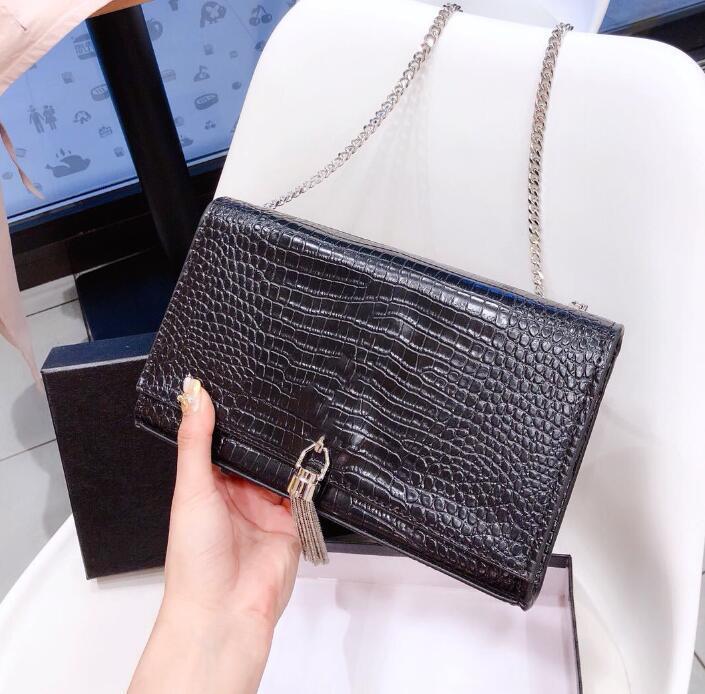Tasarımcı lüks çanta Çantalar lüks klasik marka zincir omuzdan Askili çanta, timsah Crossbody çanta Lasy tasarım 3 mektup kutusu ile