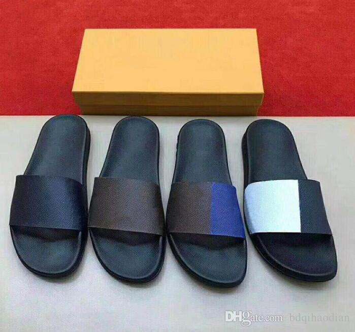 Neueste Waterfront Mule Slippers Männer Luxus Sandalen Flache Designer Hausschuhe Sommer Flexible GummiOutsole Slide Slippers mit Box
