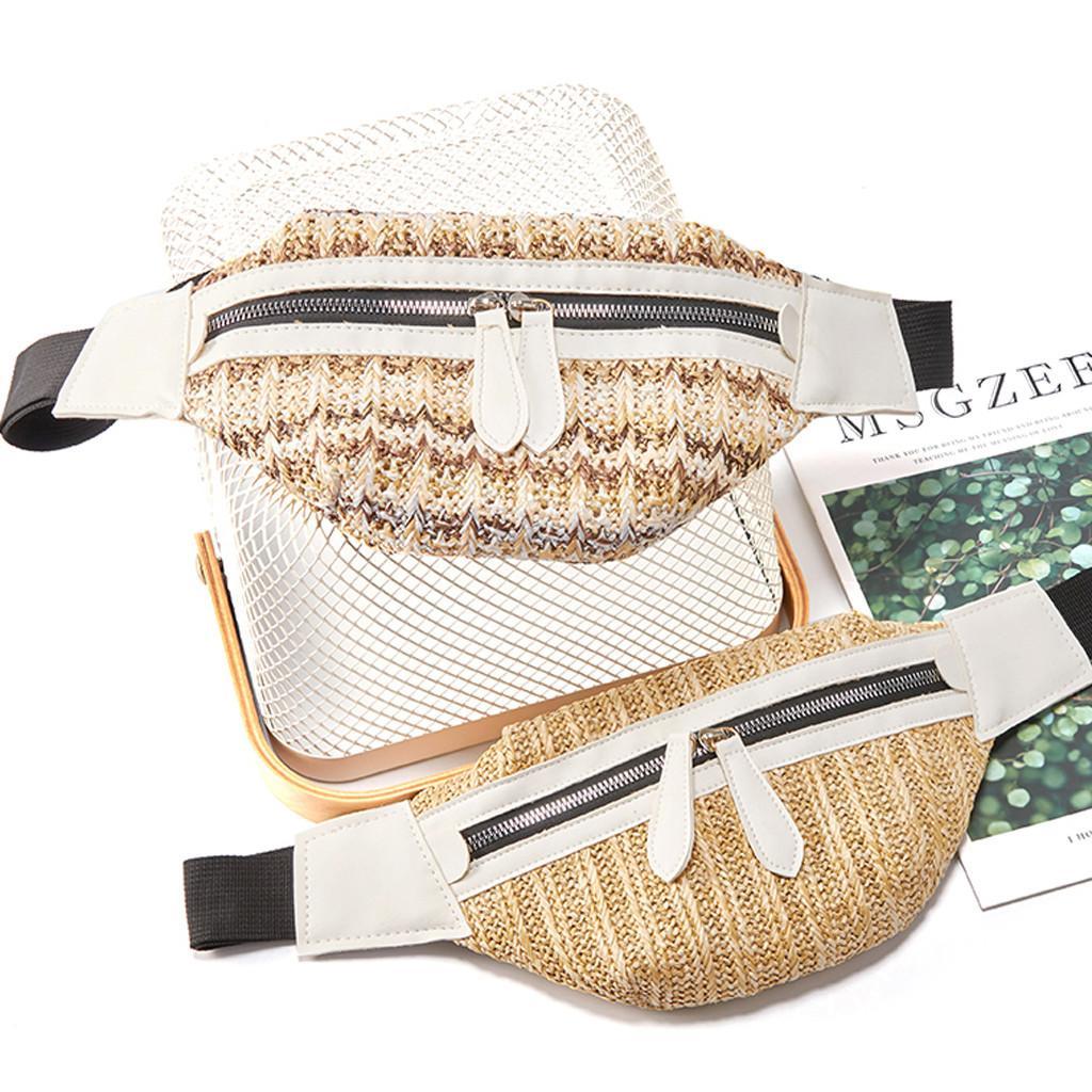 Straw Çanta Kadınlar için Cepler Kadınlar Bolsos Mujer için 2019 Moda Bayan Fermuar Messenger Göğüs Çanta Omuz Crossbody Çanta