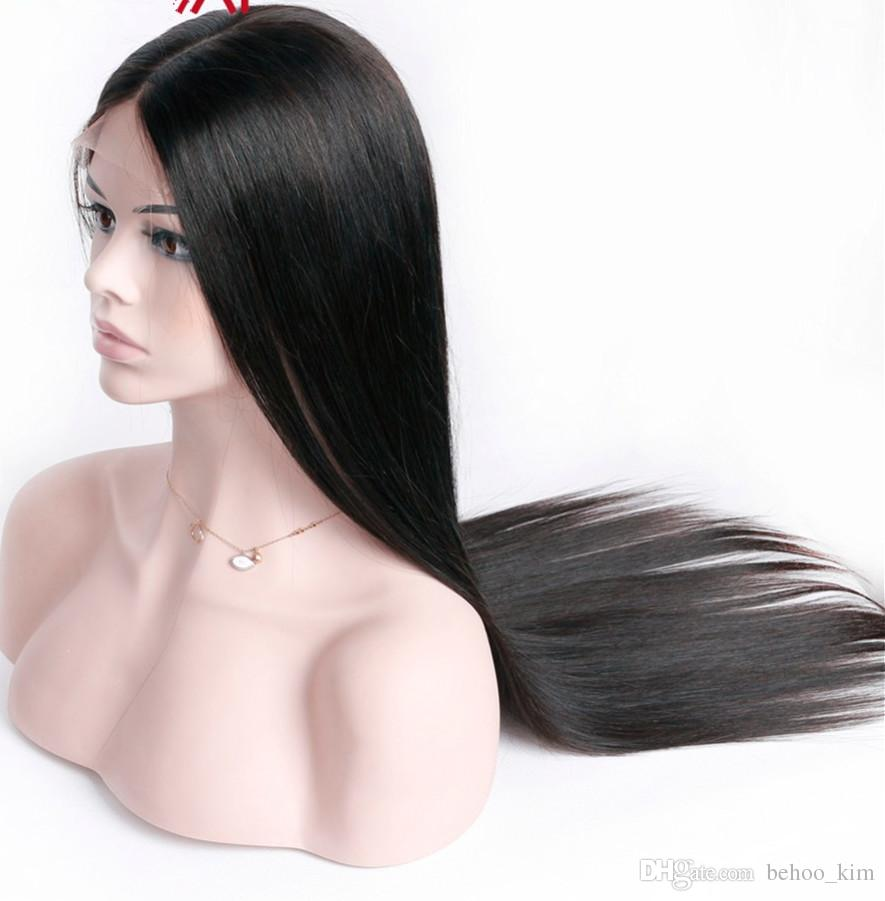 Unprocessed attractive virgin remy affordable human hair long natural color silky straight full lace wig most popular for white black women