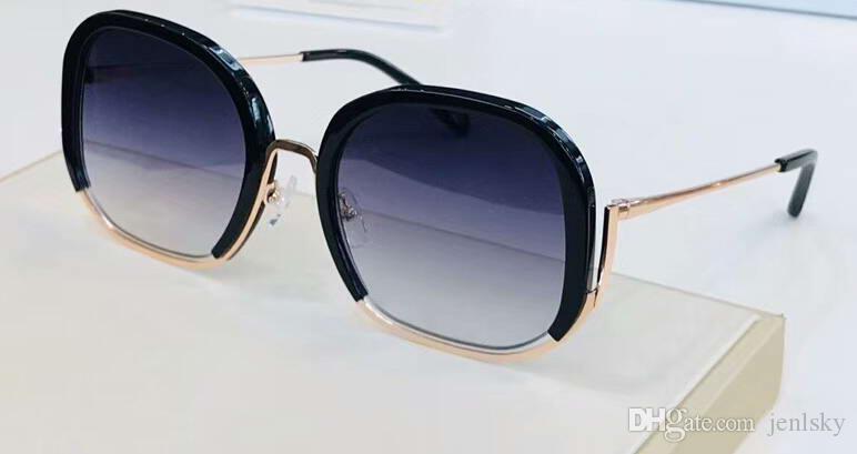 Mulheres ouro dos óculos de sol pretos Shaded Lente Run Way Quadro Designer Sunglasses Óculos Eyewear New com caixa