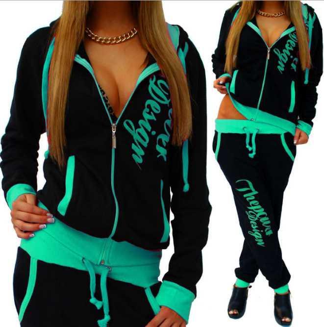 2020 Yeni Kadın aktif seti eşofman Hoodies Kazak + Pant survetement femme giyim setleri koşu Spor Pist giysiler 2 Adet Koşu