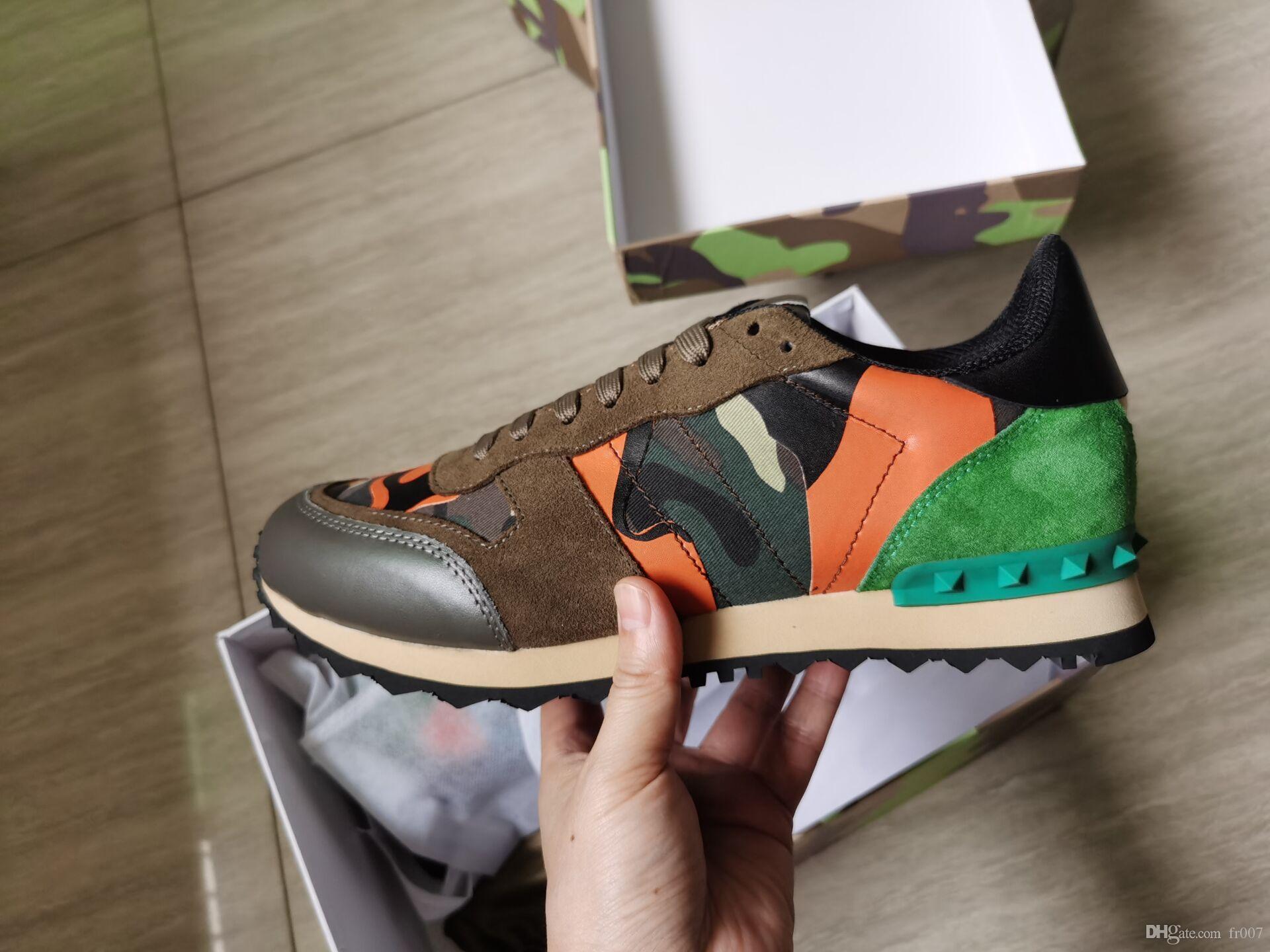 Di Alta Qualità Delle Donne Mens studded In Pelle Rock Runner Scarpe Camo Camouflage Sneakers Studded Rockrunner Casual Scarpe Da Ginnastica Scarpe Da Passeggio 35-46