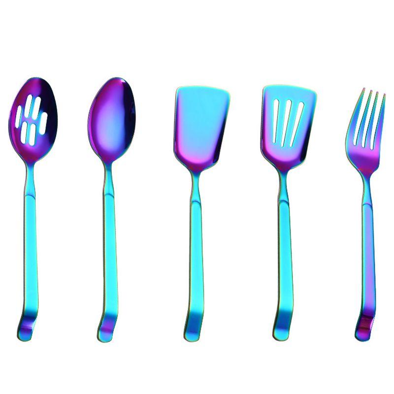 Arco-íris Conjunto Panelas Acessórios de cozinha de aço inoxidável Buffet Pública Serving Spoons Fork Turner Colander Utensílios de Cozinha