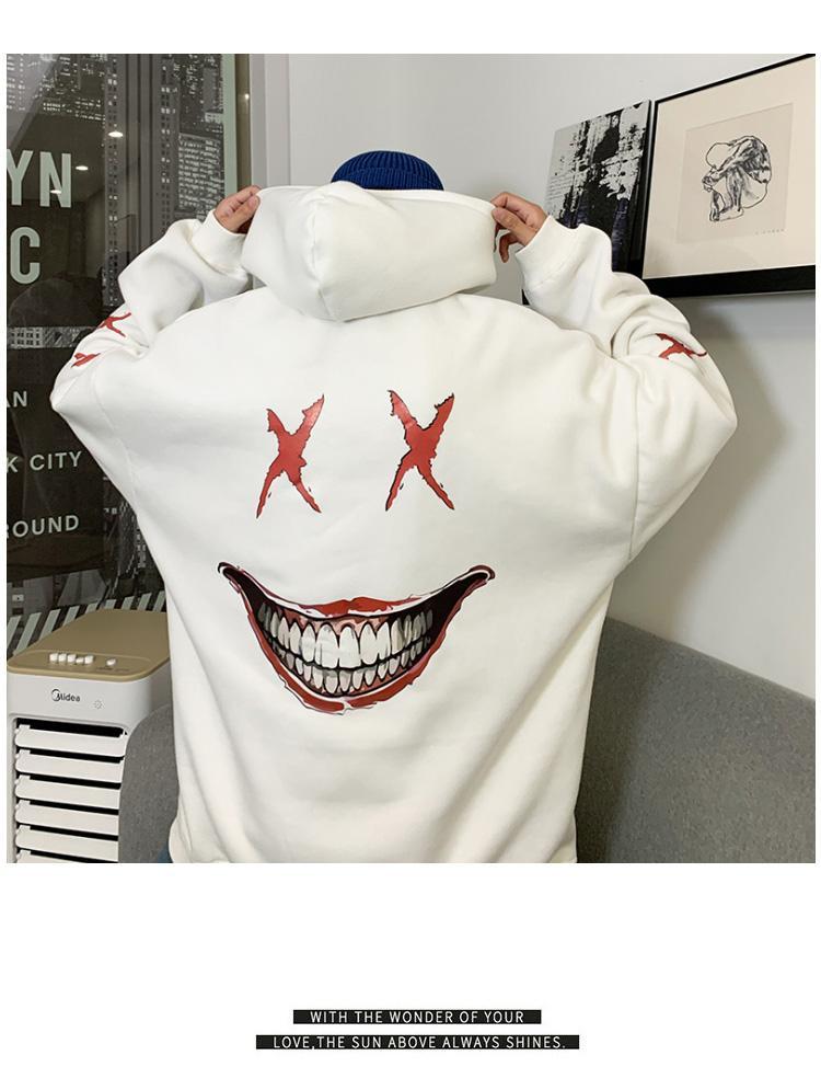 El otoño y la ropa cara nueva tendencia nacional de los hombres del estilo de la sonrisa con capucha estilo par chaqueta de manga larga hombre suelta el suéter de invierno