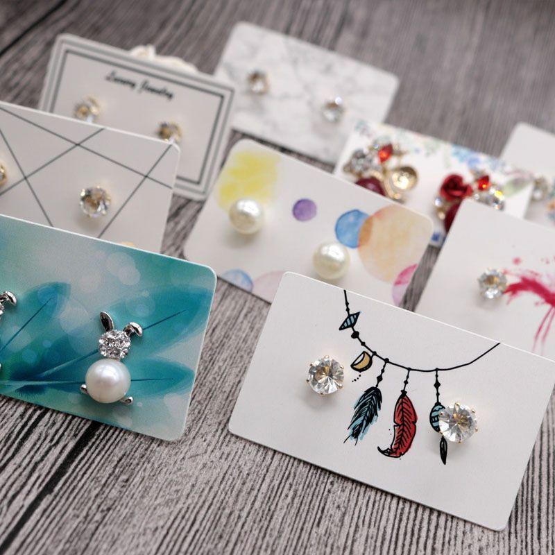 100pcs/lot مصغرة 3x5cm أزياء جميلة ترصيع الأذن عرض شعبية ديي مجوهرات ملونة ورقة بيضاء فئة لطيف الأقراط بطاقات التعبئة