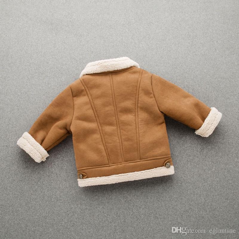 Baby Boys Chaqueta de piel de cuero abrigo de niño termal caliente para invierno Ropa para niños Outwear
