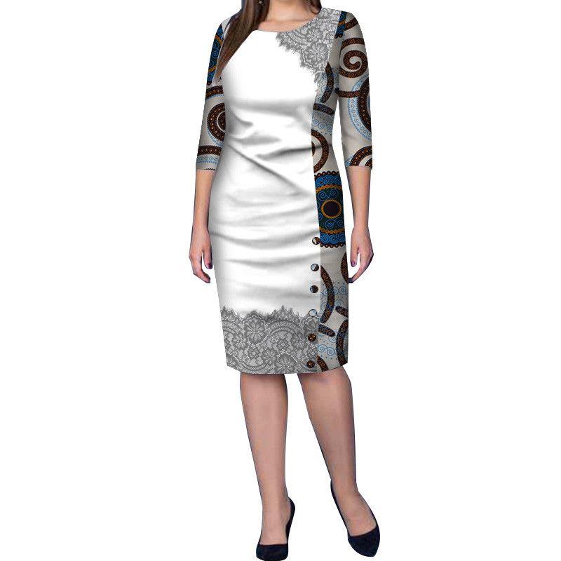 2019 Модные Африканские Платья для Женщин Африканский Воск Печати Базен Riche Bodycon Платье Элегантное Леди Midi Платье WY3622