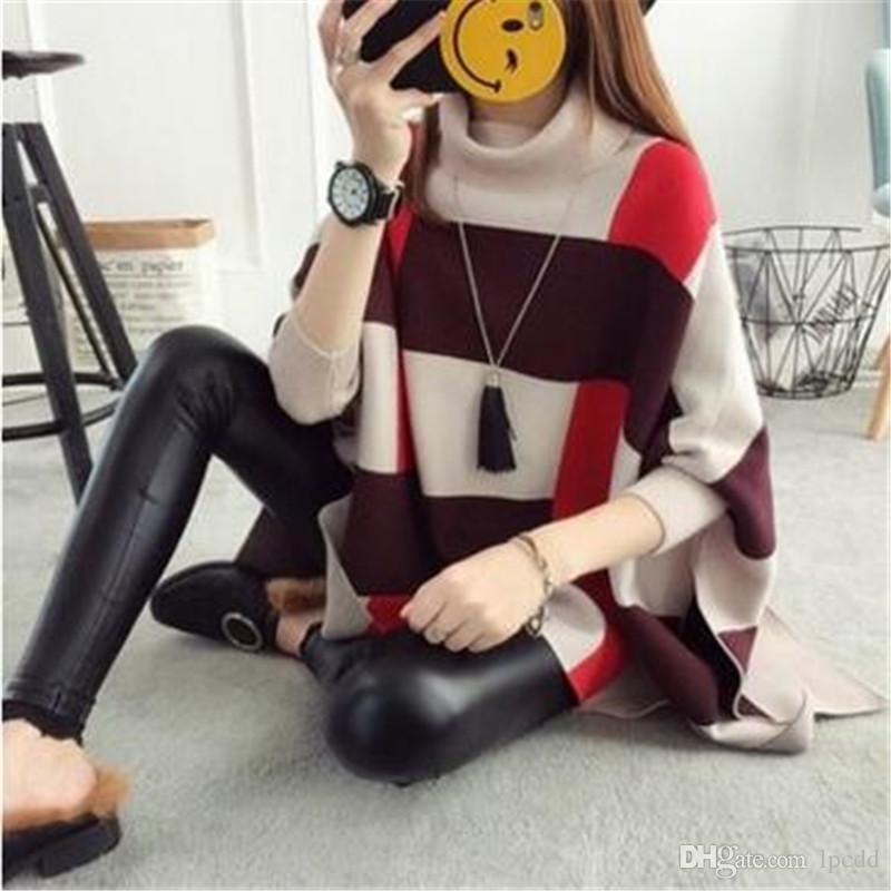Color matching large size cloak sweater women turtleneck pullover woman bat sleeve poncho knitted sweaters women clothes jersey mujer