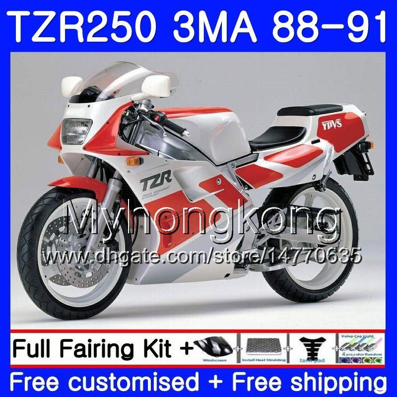 바디 용 YAMAHA TZR250RR RS RR YPVS TZR250 88 89 90 91 244HM.21 TZR-250 TZR250 3MA TZR 250 1988 1989 1990 1991 페어링 핫 레드 화이트 키트