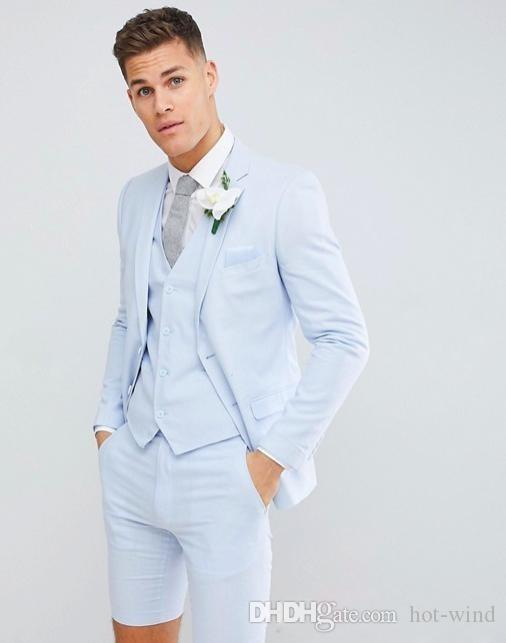 Mens Wedding Tuxedos Suits (Blazer+Short Pants+Vest) Fashion Blazer Suits For Formal Prom Evening Party Weddings Groom Wear Custom