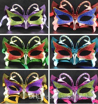 mascherina Donna farfalla Halloween mascherine di travestimento di Mardi Gras veneziana del partito di ballo Viso d'oro splendente d'oro in polvere Mask 6 colori