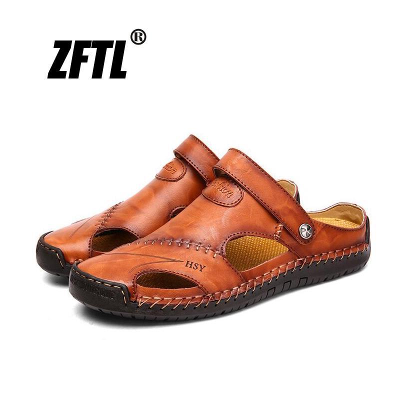 ZFTL Neue Männer Pantoffel Sommer Mann lässig Strand Schuhe Größe 38-48 echtes Leder Freizeit Mann Pantoffel 58 T200420