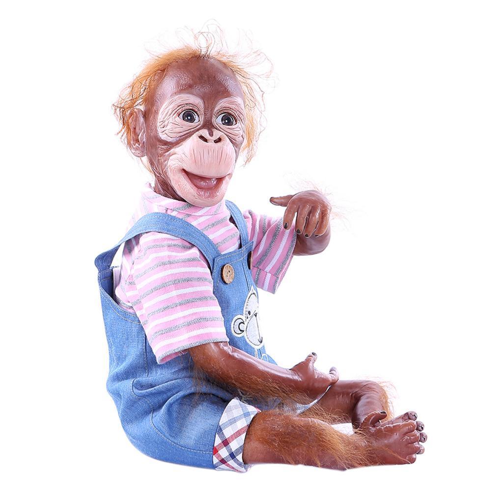 Reborn Baby Monkey Boneca 20 polegadas 52cm Silicone Suave Realista Olhando Recém-Newborn Dolls Segurança para meninos meninas idades 3+ (Escolha cores)