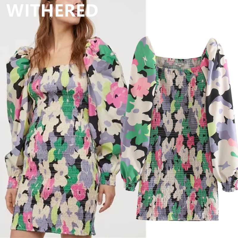 Marchitado de la calle principal de la vendimia de la impresión floral de la manga de soplo de las mujeres de vestir vaina de verano vestidos de fiesta de noche del vestido de partido vestidos