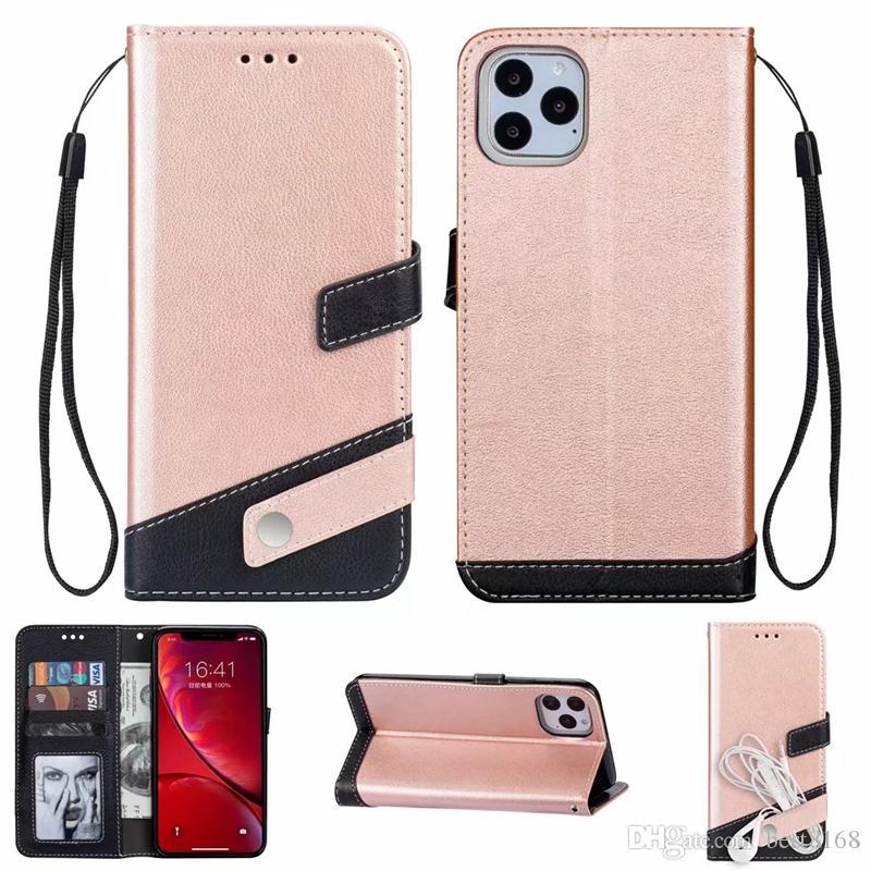 Hit híbrido color Cartera de cuero para Iphone 12 11 Pro XR XS Max X 8 7 6 5 SE Galaxy Note 20 Pro 10 PU de la tarjeta de identificación de doble ranura de la cubierta del tirón de la correa