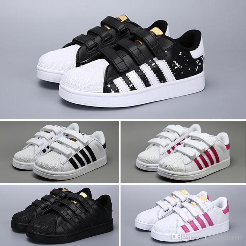 Adidas Superstar 2018 Enfants Superstar chaussures Original Blanc Or bébé enfants Superstars Baskets Originals Super Star filles garçons Sports Casual Chaussures 24-35