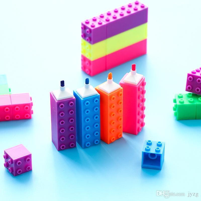 Mini bloque de diamantes de color de resaltado pluma gráfico del edificio rotuladores Kid papel de regalo De Oficina