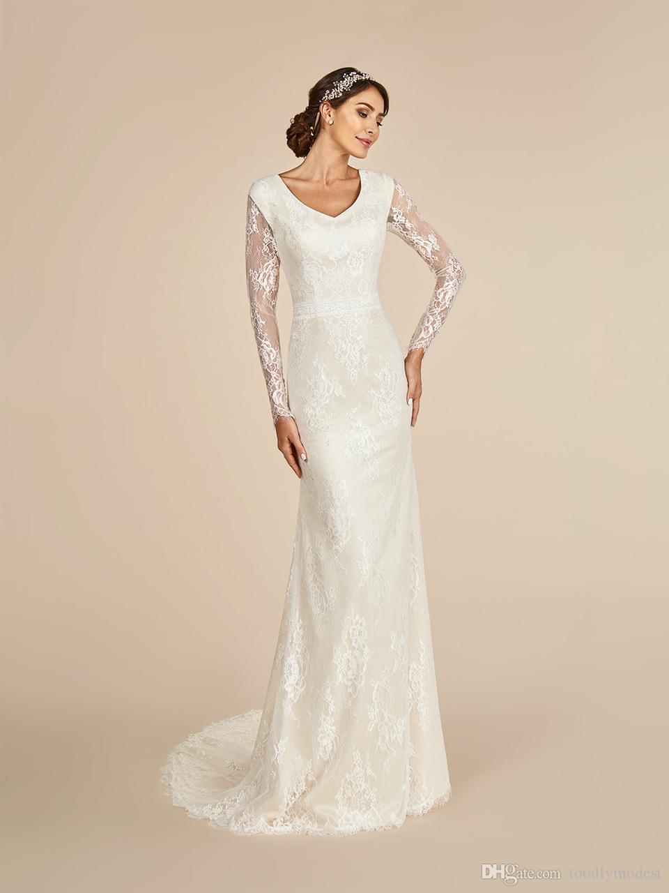 Vintage Spitze Mermaid Brautkleider Modest mit langen Ärmeln V-Ausschnitt Buttons Schwarz Champagne LDS Modest Brautkleider Spitze Ärmel Braut Kleid