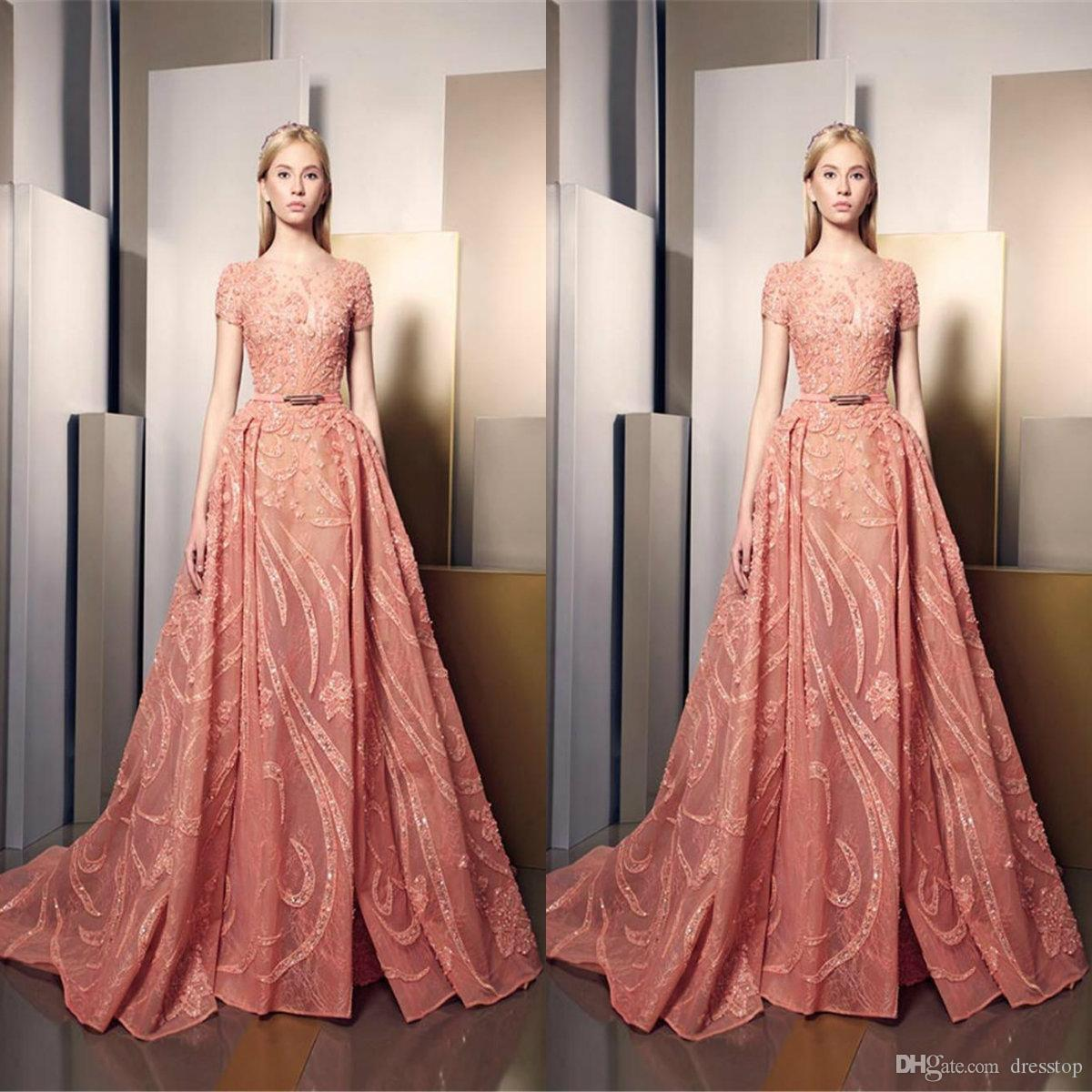 Ziad Nakad Overskirt Prom Dresses Long Sheer Jewel Neck Pizzo Abiti formali Paillettes Piano Lunghezza Tulle Appliqued Party Dress For Women
