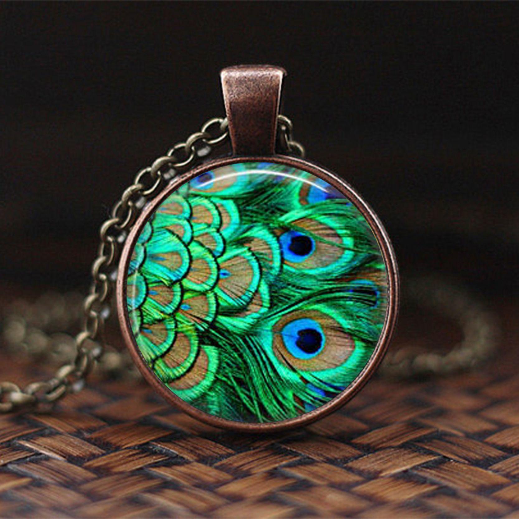 Neue Mode Schöne Pfauenfedern Aussage Halskette Glas Cabochon Pendent Für Männer Frauen Schmuck Kreative Geschenk
