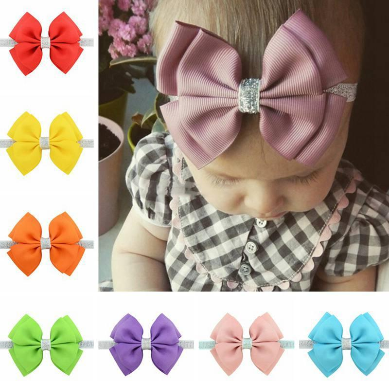 20Colors silver Baby Headbands Bows Kids Ribbon glitter Elastic Headbands for Girls Children Hair Accessories Double Bowknot Hairband