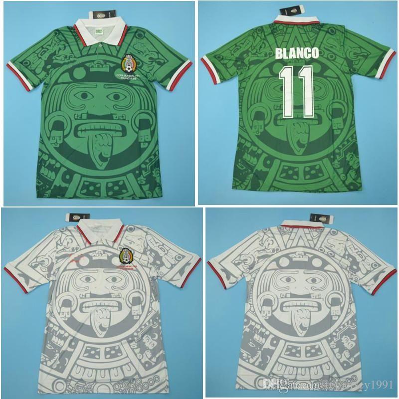 Top 1998 Mexique Rétro chandails vintage classique maillot de football Domicile Extérieur HERNANDEZ 98 Maillot de foot de foot BLANCO maillot manches courtes