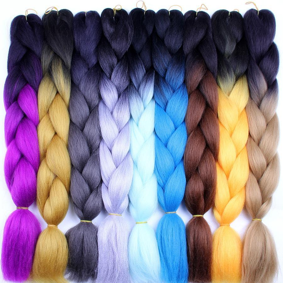 Synthetic Ombre Tressing Cheveux Différent Mixte Color Xpression Tradition 24 pouces 100g / Pack Jumbo tresses Kanekalon tresses de coiffure