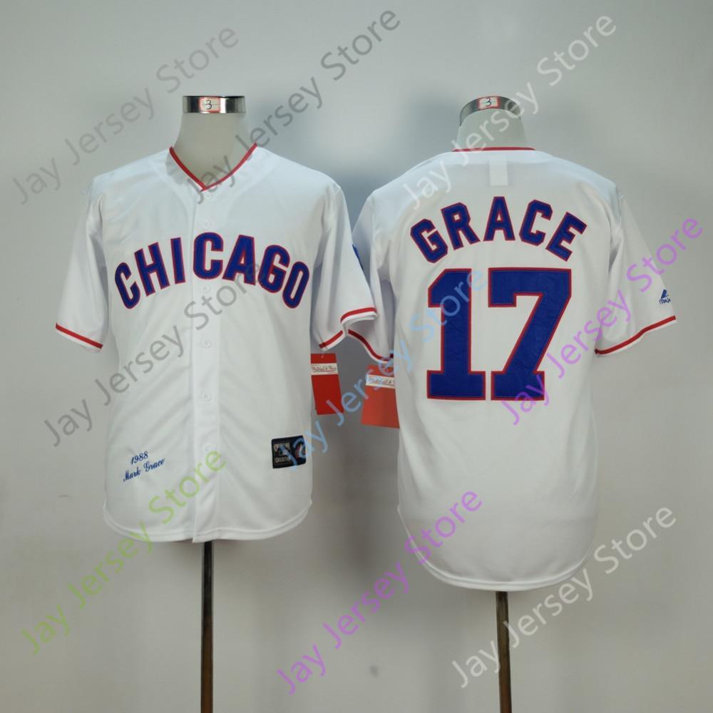 Mark Grace Jersey Dışarıda 1968 Chicago Beyzbol Beyaz Mavi Gri Kırmızı Ev Tüm Dikişli