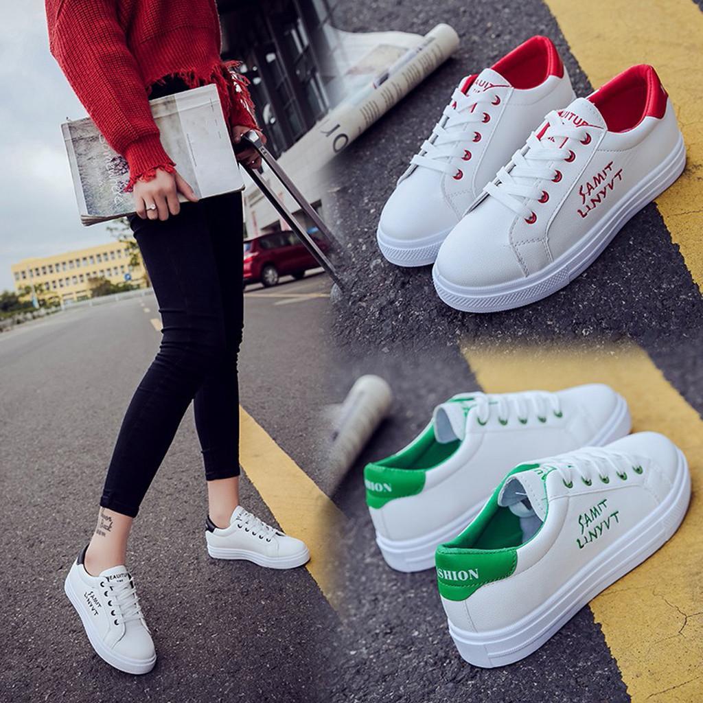 Respirant femmes étudiant de blanc à lacets blancs Chaussures de course épais Soled Flats Espadrilles chaussures plate-forme Sport
