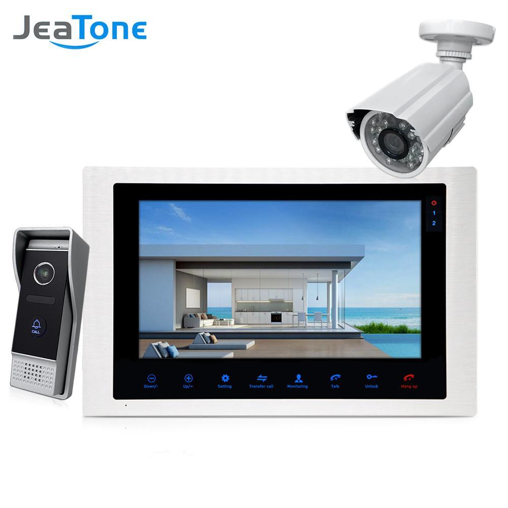 """JeaTone 10 """"4-com fio Telefone Da Porta Vídeo Porteiro Interfone campainha Monitor de Interfone + Extra 1200TVL Sistema de Câmera de Segurança À Prova D 'Água"""