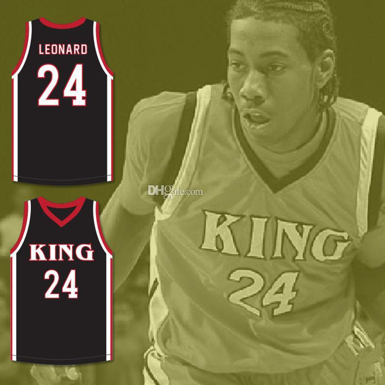Kawhi Leonard #24 Martin Luther King High School Wolves White Red Black Basketball Jersey Men's Stitched Custom Any Number Name Jerseys