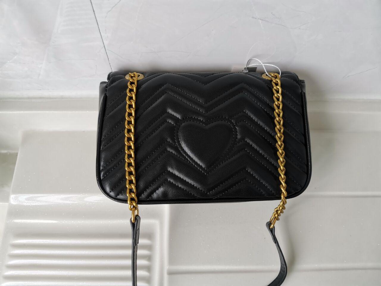 Classic PU mujeres de la cadena del cuero crossbody oro Marmont bolsas bolsos de hombro bolsa de mano 1424gfg