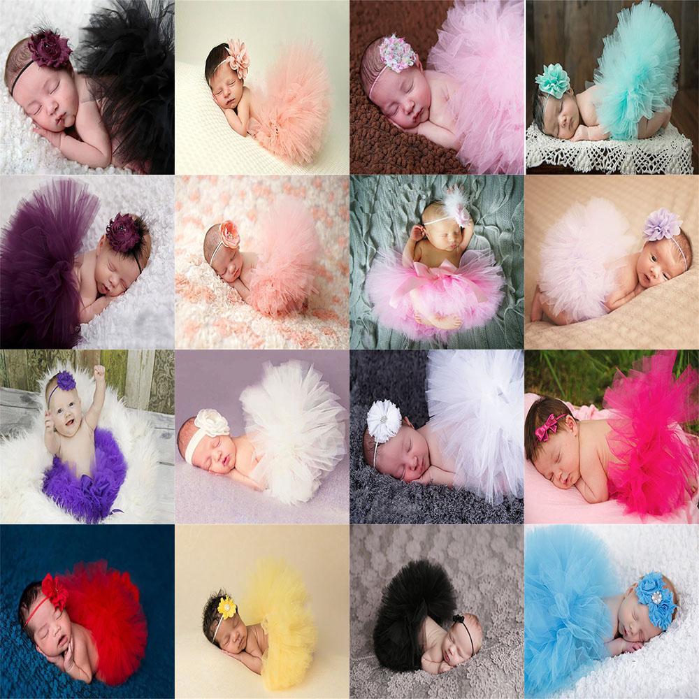 Bebê recém-nascido saias tutu Criança malha Lace saia bonito fotografia Meninas Meninos adereços roupas Summer Infant com headbands 19 cores Z0572