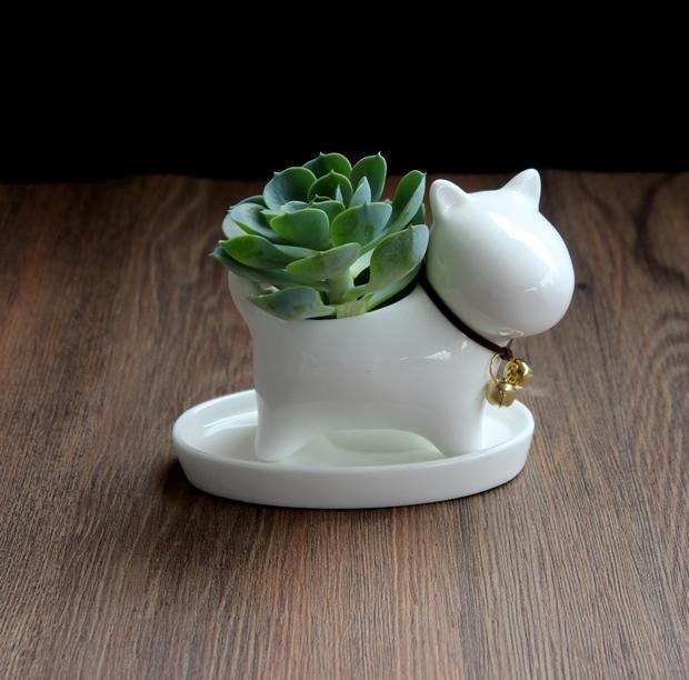 Ceramic pot succulent planter with drainage hole dog shape white puppy small desktop decorative home and garden decor